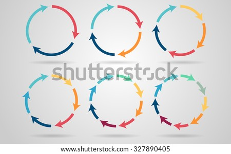 Vector circle arrows for infographic. Template for diagram, graph, presentation and chart. Business concept with 3, 4, 5, 6, 8, 9 options