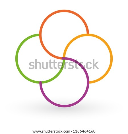 Vector circle arrows infographic, cycle diagram, data graph, presentation chart. Business startup concept with 4 options, parts, steps, processes. Template with round swirl color flower.