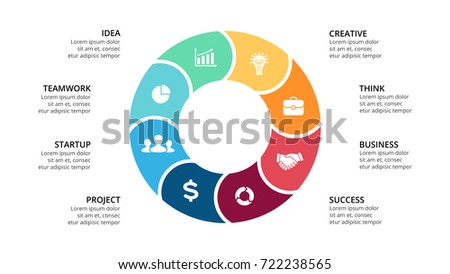 Vector circle arrows infographic, cycle diagram, geometric graph, presentation chart. Business infographics concept with 8 options, parts, steps, processes. 16x9 slide template.
