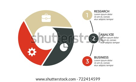 Vector circle arrows infographic, cycle diagram, geometric graph, presentation chart. Business infographics concept with 3 options, parts, steps, processes. 16x9 slide template.