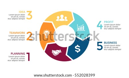 Vector circle arrows infographic, cycle diagram, graph, presentation chart. Business concept with 5 round options, circular parts, equal steps, processes. 16x9 slide. Creative infographics