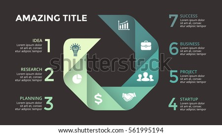 Vector circle arrows infographic, cycle diagram, graph, presentation chart. Business geometric sign concept with 7 options, parts, steps, processes. 16x9 slide infographics template. Dark background