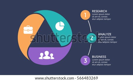 Vector circle arrows infographic, cycle diagram, graph, presentation chart template. Business geometric infographics concept with 3 option, parts, steps, processes. Triangle at dark background.