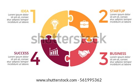 Vector circle arrows infographic, cycle diagram, puzzle jigsaw graph, presentation chart. Business infographics concept with 4 options, parts, steps, processes. 16x9 slide clean white template