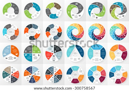Vector circle arrows infographics bundle. Template for cycle diagram, graph, presentation and round chart. Business concept with 3, 4, 5, 6, 7, 8 options, parts, steps or processes