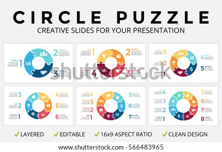 Vector circle arrows infographics, cycle diagram, puzzle jigsaw graph, 16x9 slide presentation pie chart. Business infographic template 3, 4, 5, 6, 7, 8 options, part, step, process. Clean design