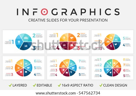 Vector circle arrows infographics set, cycle diagram, graph, presentation slide chart. Business infographic concept with 3, 4, 5, 6, 7, 8 options, parts, steps, processes. 16:9.