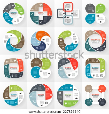 Vector circle arrows striped ribbons infographics set. Template for diagram, graph, presentation and chart. Business concept with 4 options, parts, steps or processes. Abstract background.