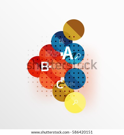 Vector circle bubbles modern geometric background with option letter design. Vector template background for workflow layout, diagram, number options or web design