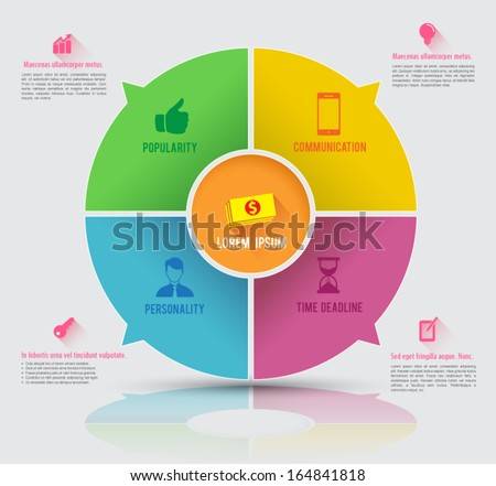 Vector circle business concepts with icons / can use for infographic / loop business report or plan / modern template / education template / business brochure / icons long shadows