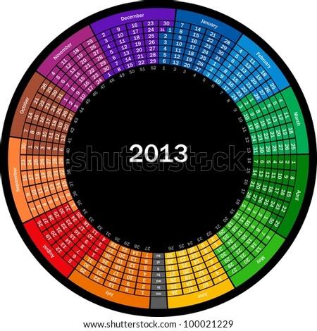 Vector circle calendar 2013 - stock vector