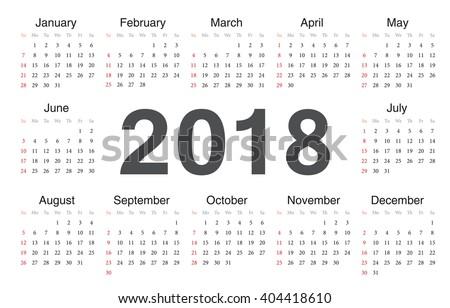 Vector circle calendar 2018. Week starts from Sunday.