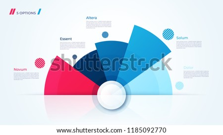 Vector circle chart design, modern template for creating infographics, presentations, reports, visualizations. Global swatches.