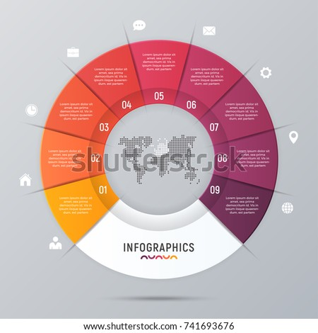 Vector circle chart infographic template for presentations, advertising, layouts, annual reports. 9 options, steps, parts.