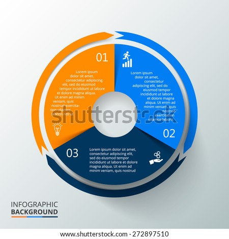 Vector circle element with long shadow for infographic. Template for cycling diagram, graph, presentation. Business concept with 3 options, parts, steps or processes. Abstract background