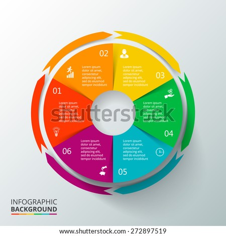 Vector circle elements for infographic. Template for cycling diagram, graph, presentation and round chart. Business concept with 6 options, parts, steps or processes. Abstract background