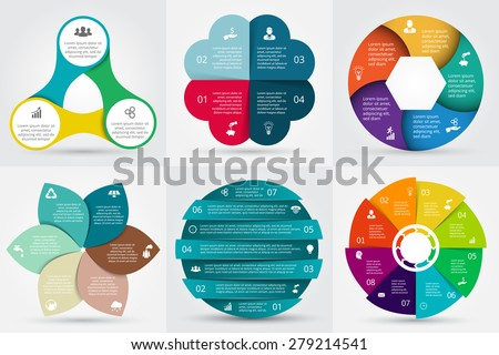 Vector circle elements set for infographic. Template for cycling diagram, graph, presentation. Business concept with 3, 4, 5, 6, 7, 8 options, parts, steps or processes. Abstract background.