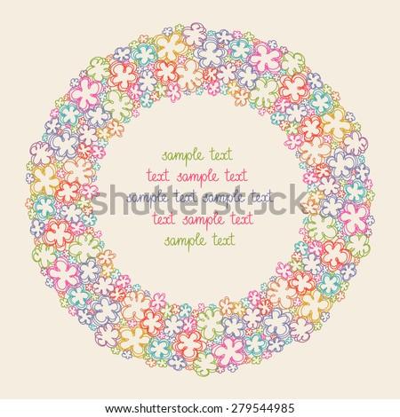 vector circle flower frame