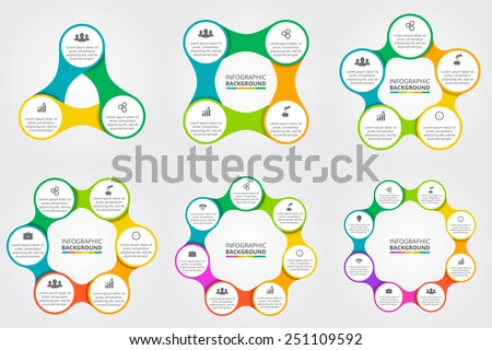 Vector circle for infographic. Template for cycling diagram, graph, presentation and round chart. Business concept with 3, 4, 5, 6, 7, 8 options, parts, steps or processes.