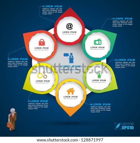 Vector circle group business concepts with  icons / can use for info-graphic / loop business report or plan / modern template / education template / business brochure /  system diagram