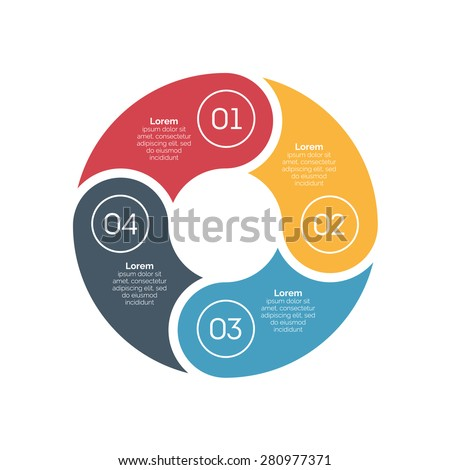 Vector circle infographic design element. Template for diagram, graph, presentation and chart. Business concept with 4 options, parts, steps or processes