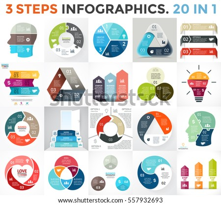 Vector circle infographic set. Business diagram, arrows graph, startup logo presentation, idea pie chart. Data infographics options, 3 parts, steps, processes. Human brain, stairs, eco, heart sign.