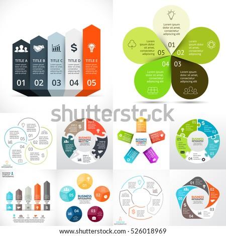 Vector circle infographic set. Business diagrams, arrows graphs, startup logo presentation, idea charts. Data options 5 parts, steps, processes. Eco leaves flower, puzzle, growth, success, performance