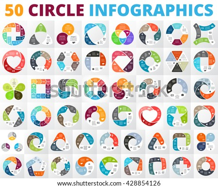 Vector circle infographic set. Business diagrams, round arrows graphs, presentations and charts. Data infographics options, parts, 3, 4, 5, 6, 7, 8 steps cycle processes. Plus, heart, triangle, square