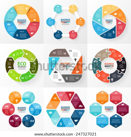 Vector circle infographic. Template for cycle diagram, graph, presentation and round chart. Business concept with 6 options, parts, steps or processes. Abstract background.