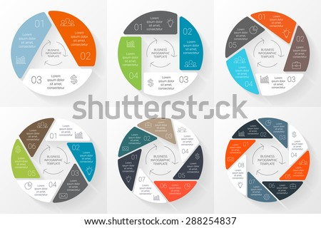 Vector circle infographic. Template for cycle diagram, graph, presentation and round chart. Business concept with 3, 4, 5, 6, 7, 8 options, parts, steps. Linear info graphic. Data visualization.