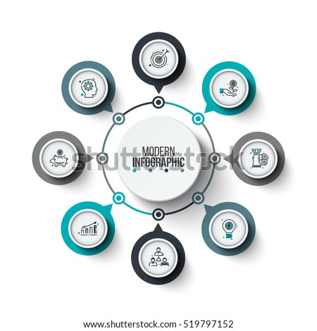 Vector circle infographic. Template for cycle diagram, graph, presentation and round chart. Business concept with 8 options, parts, steps or processes. Stroke icons.