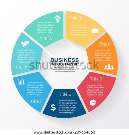 Vector circle infographic. Template for diagram, graph, presentation and chart. Business concept with seven options, parts, steps or processes. Abstract background.