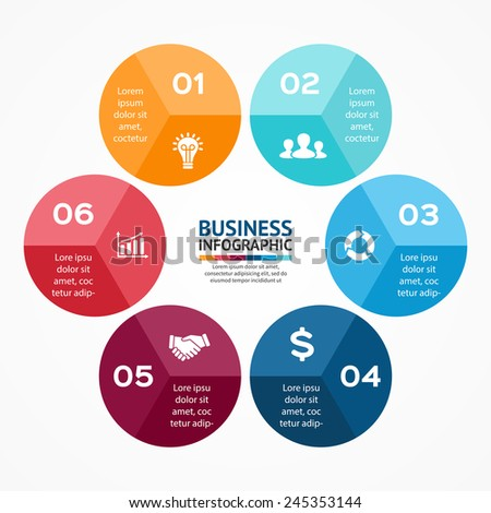 Vector circle infographic. Template for diagram, graph, presentation and chart. Business concept with 6 options, parts, steps or processes. Abstract background.