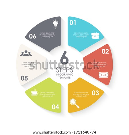 Vector circle infographic template for round diagram, graph, web design. Business concept with 6 steps, options or processes. Isolated on white background. Photo stock ©