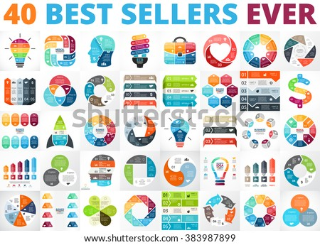 Vector circle infographics. Business diagrams, arrows graphs, presentations, idea cycle charts. Data options, parts, 3, 4, 5, 6, 7, 8 steps infographic. Bulb, brain, plus, eco, heart, lines, stairs.
