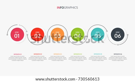 Vector circle Infographics.Timeline design with 6 steps,arrows .Vector linear infographic element.