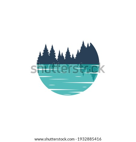 Vector circle Lake logo template. Illustration of a blue, azure lake with the silhouette of a forest. Reflection of the forest in the water. Stockfoto ©
