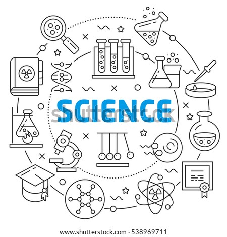 Vector circle lines illustration icons science science chemistry laboratory