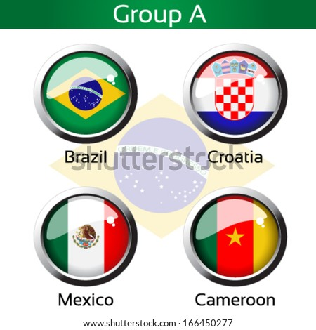 Vector circle metalic flags - football Brazil, group A - Brazil, Croatia, Mexico, Cameroon - drawing including all details