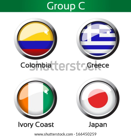 Vector circle metalic flags - football Brazil, group C - Colombia, Greece, Ivory Coast, Japan - drawing including all details