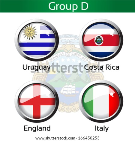 Vector circle metalic flags - football Brazil, group D - Uruguay, Costa Rica, England, Italy - drawing including all details
