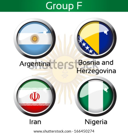 Vector circle metalic flags - football Brazil, group F - Argentina, Bosnia and Herzegovina, Iran, Nigeria - drawing including all details