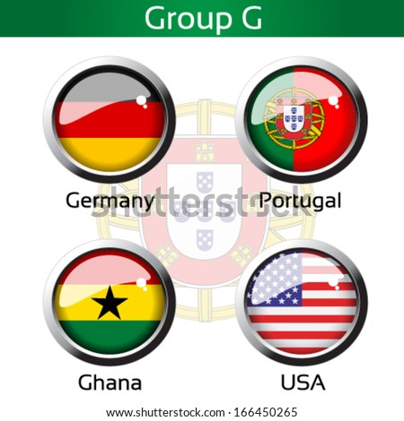 Vector circle metalic flags - football Brazil, group G - Germany, Portugal, Ghana, USA - drawing including all details