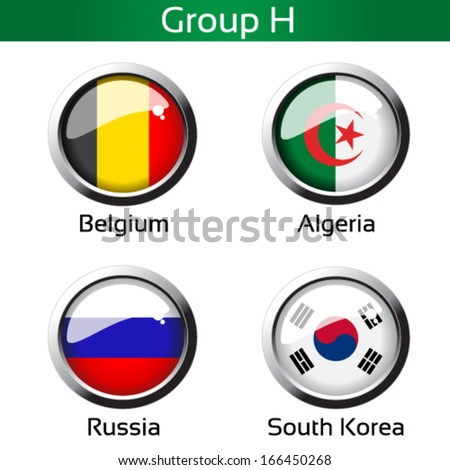 Vector circle metalic flags - football Brazil, group H - Belgium, Algeria, Russia, South Korea - drawing including all details