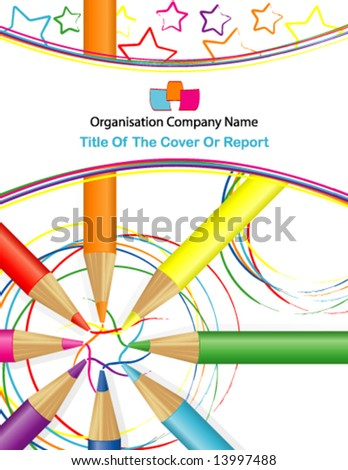 Vector Circle of Coloring Pencils With Sketched Drawing of Space & Stars (Background or cover; a version with sketched drawing of flowers is also available) - stock vector