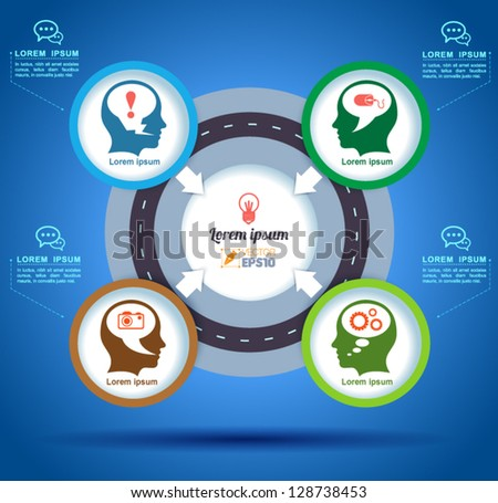 Vector circle of think business concepts with  icons to creative idea / can use for infographic  / modern template / education template / business brochure /  system diagram