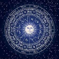 Vector circle of Zodiac signs with icons, names, constellations, the Sun and magic runes written in a circle on the background of the starry sky. Horoscope symbols for astrological predictions