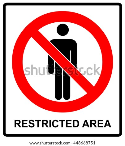 Vector Circle Prohibited Sign Restricted Area For Member Only or No Enter Sign in Caution Zone
