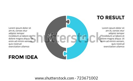 Vector circle puzzle infographic, cycle diagram, graph, presentation chart. Business infographics concept with 2 options, parts, steps, processes. From idea to result. 16x9 dark slide template.