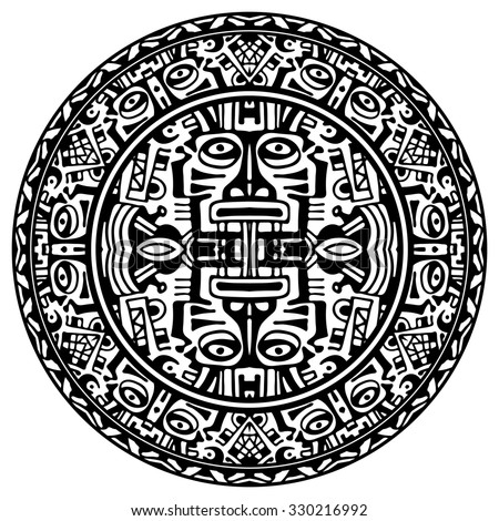 Royalty Free Vector Of Mayan Calendar On White 125552171 Stock